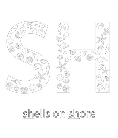 Black and white alphabet letter S. Phonics flashcard. Cute SH sound for teaching reading with cartoon style shells on sandy background. Coloring page for children. Ilustração
