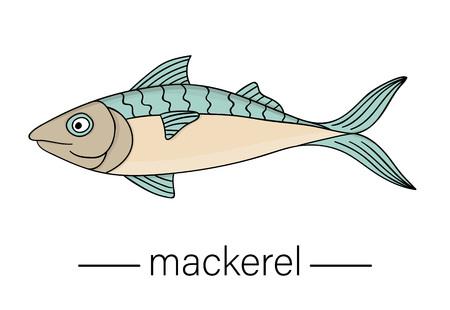 Vector colored mackerel. Cartoon style sea fish icon. Underwater illustration Ilustrace