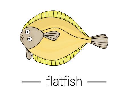 Vector colored flatfish. Cartoon style sea fish icon. Underwater illustration Illustration