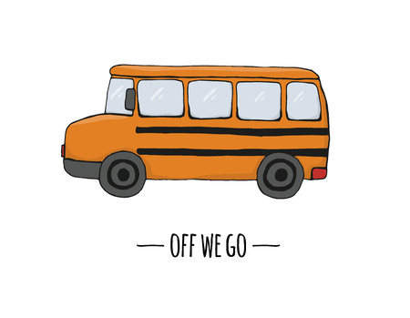 Vector retro transport icon. Vector illustration of school bus isolated on white background. Cartoon style illustration of old means of transport