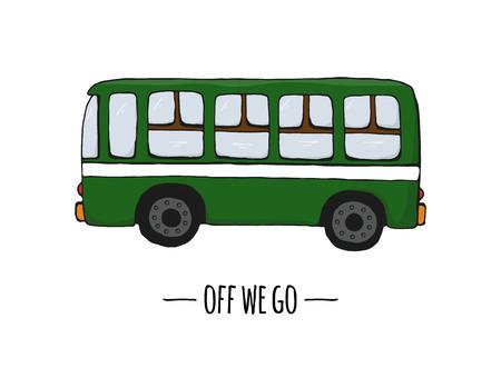 Icona di trasporto retrò di vettore. Illustrazione vettoriale di autobus isolato su sfondo bianco. Illustrazione in stile cartone animato di vecchi mezzi di trasporto Vettoriali