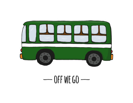Vector retro transport icon. Vector illustration of bus isolated on white background. Cartoon style illustration of old means of transport Ilustración de vector