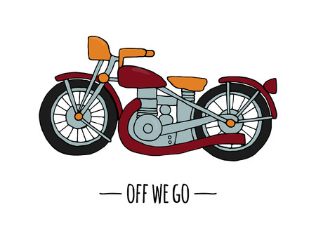 Vector retro transport icon. Vector illustration of motorbike isolated on white background. Cartoon style illustration of old means of transport