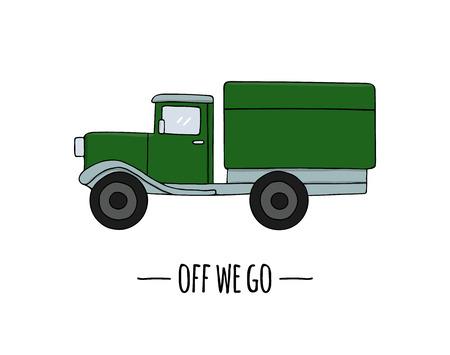 Icona di trasporto retrò di vettore. Illustrazione vettoriale di camion isolato su sfondo bianco. Illustrazione in stile cartone animato di vecchi mezzi di trasporto Vettoriali