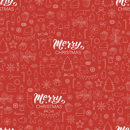 Vector seamless pattern of white Christmas or New Year elements on red background with merry Christmas lettering. Colorful repeating holiday background