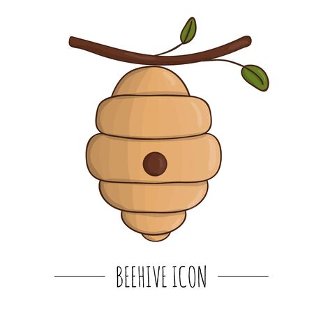 Vector illustration of beehive on a twig. Banner, card, template, sign, signboard or poster for home made honey shop. Honey themed icon, logo or sign. Foto de archivo - 129902291