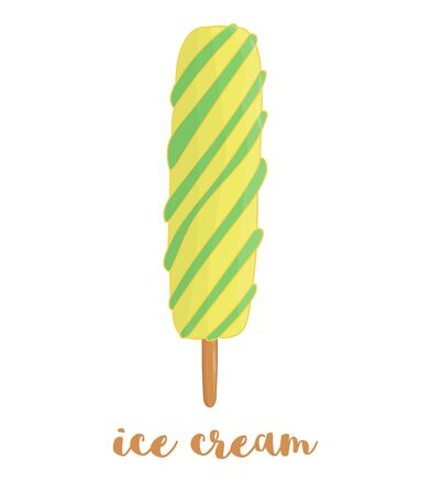 Vector illustration of colorful ice-cream. Sweet summer dessert. Drawing of ice isolated on white background.