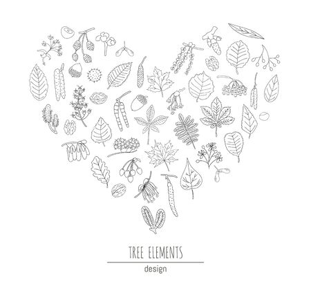 Vector set of black and white tree elements isolated on white background framed in heart shape. Line drawing of birch, maple, oak, rowan, chestnut, hazel, linden, alder, aspen, elm, poplar, willow, walnut, ash leaves. Cartoon style forest concept