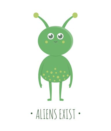 Vector alien illustration for children. Bright and cute flat picture of green extraterrestrial creature isolated on white background. Space concept.