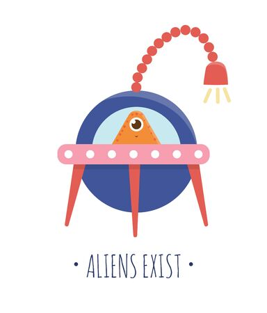 Vector illustration of UFO with alien inside for children. Bright and cute flat picture of flying saucer isolated on white background. Space concept.