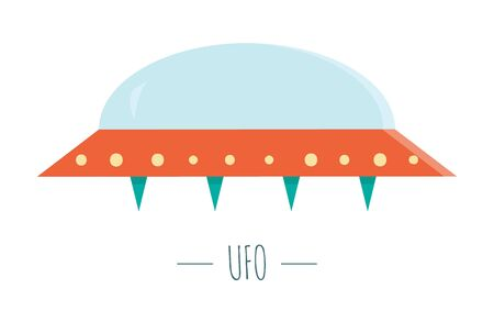 Vector UFO illustration for children. Bright and cute flat picture of flying saucer isolated on white background. Space concept.