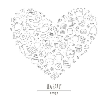 Vector illustration of black and white teapots, pies, sweets, cakes framed in heart shape. Line art tea set. Tea themed concept. Frame with kettles and kitchen equipment