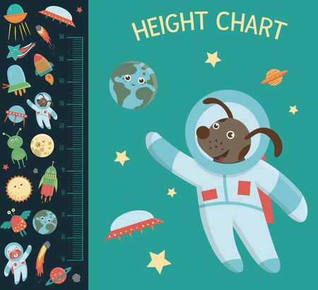 Vector space height chart. Picture with cosmic elements for children. Measurement Scale with ufo, planet, star, astronaut, comet, rocket, asteroid.