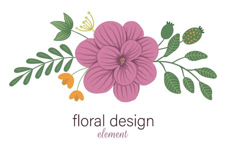 Vector floral horizontal decorative element. Flat trendy illustration with flowers, leaves, branches. Meadow, woodland, forest clip art. Beautiful spring or summer bouquet isolated on white background Vecteurs