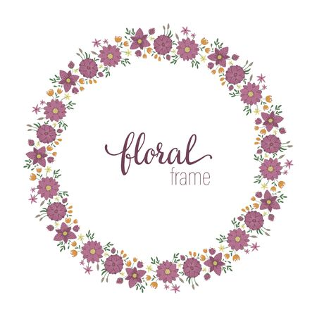 Vector frame template with flat trendy wild flowers with reeds on white background. Square layout card with place for text. Floral design for invitation, wedding, party, promo events. Ilustração
