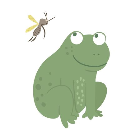 Vector cartoon style flat funny frog with mosquito isolated on white background. Cute illustration of woodland swamp animal. Sitting amphibian icon for children's design. Ilustração