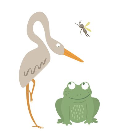 Vector cartoon style flat funny frog with heron and mosquito isolated on white background. Cute illustration of woodland swamp animal. Sitting amphibian icon for children's design.