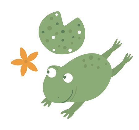 Vector cartoon style flat funny frog with waterlily isolated on white background. Cute illustration of woodland swamp animal. Jumping amphibian icon for children's design. Ilustração