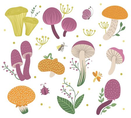 Vector set of flat funny mushrooms with berries, leaves and insects. Autumn clip art for children's design. Cute fungi illustration Ilustracja