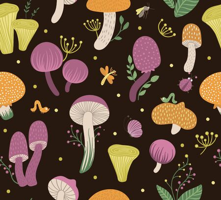 Vector seamless pattern of flat funny mushrooms with berries, leaves and insects. Autumn repeating background for children's design. Cute fungi illustration on black backdrop