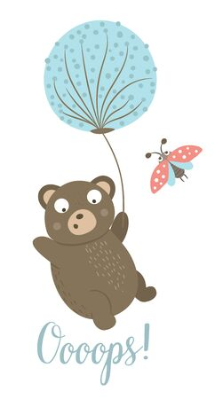Vector cartoon style hand drawn flat bear flying on dandelion with ladybug. Funny scene with falling down Teddy. Cute illustration of woodland animal for children's design, print, stationery