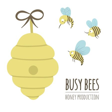 Vector hand drawn flat illustration of a beehive with bees. Honey production logo, sign, banner, poster. Card template for beekeeping business. Foto de archivo - 129903216