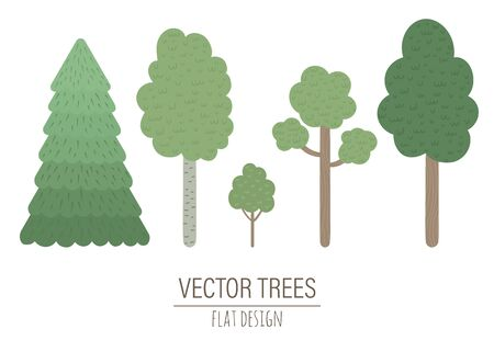 Vector set of hand drawn flat trees isolated on white background. Collection of forest plants for children's design.