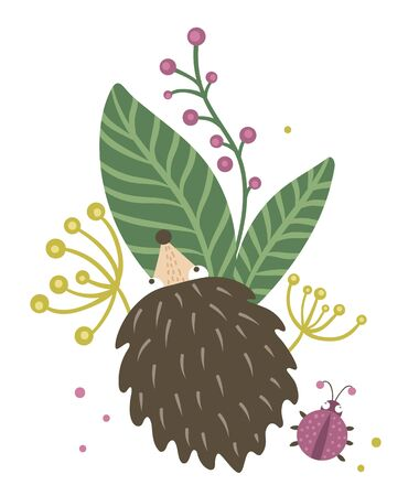 Vector hand drawn flat hedgehog with berries, leaves and ladybug clip art. Funny autumn scene with prickly animal having fun. Cute woodland animalistic illustration for children's design, print, stationery Ilustracja