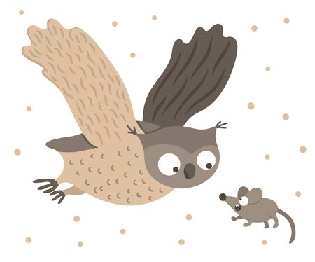 Vector hand drawn flat owl flying with spread wings for scared mouse. Funny hunt scene with woodland bird. Cute forest animalistic illustration for children's design, print, stationery