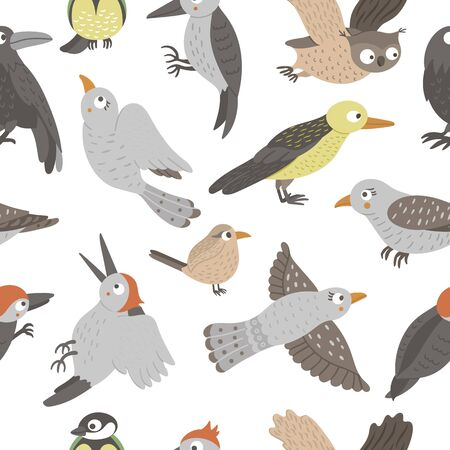 Vector seamless pattern of hand drawn flat funny woodland birds. Cute repeat background with Owl, Cuckoo, Raven, Woodpecker, Wren, Oriole. Cute ornithological ornament for children's design.