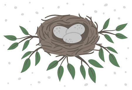 Vector hand drawn flat bird's nest with eggs on the tree branches with green leaves. Cute forest ornithological illustration for children's design, print, stationery