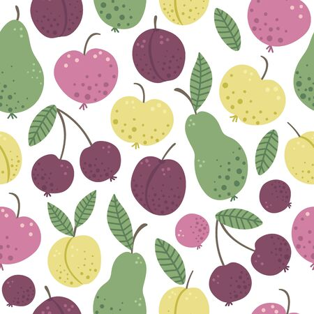 Vector seamless pattern with funny hand drawn flat garden fruits and berries. Colored apple, pear, plum, peach, cherry texture. Harvest repeating background picture for children's design.