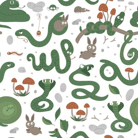 Vector seamless pattern of hand drawn flat funny snakes in different poses. Cute repeat background with woodland animals. Cute serpents ornament for children's design. Stock Illustratie