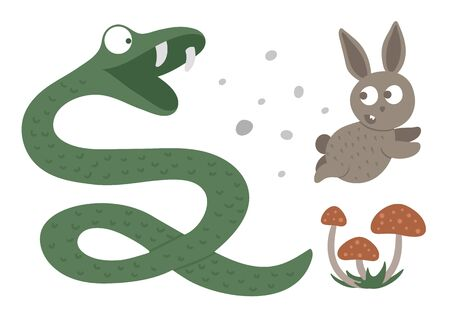 Vector hand drawn flat snake hunting a hare. Funny woodland animal. Cute forest serpent illustration for children's design, print, stationery Stock Illustratie