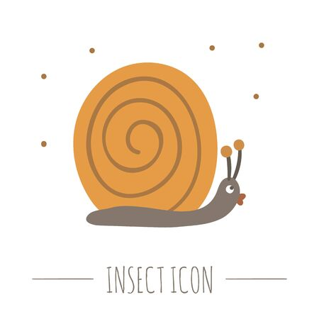 Vector hand drawn flat crawling snail. Funny woodland mollusk icon. Cute forest animalistic illustration for childrens design, print, stationery Ilustrace