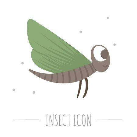 Vector hand drawn flat flying green insect. Funny woodland fly icon. Cute forest animalistic illustration for children's design, print, stationery