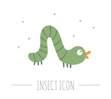 Vector hand drawn flat crawling green caterpillar. Funny woodland insect icon. Cute forest animalistic illustration for children's design, print, stationery Ilustrace
