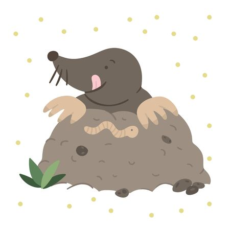 Vector hand drawn flat mole eating a worm. Funny woodland animal. Cute forest animalistic illustration for children's design, print, stationery