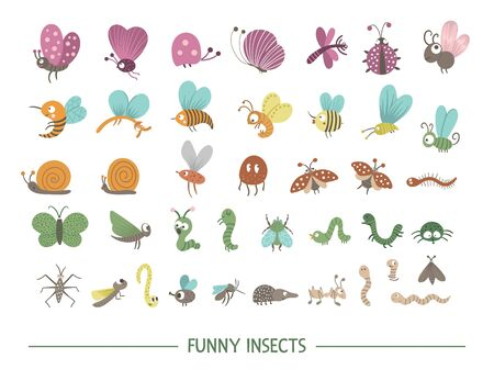 Set of vector hand drawn flat insects. Funny bugs collection. Cute forest illustration with butterflies, bees, caterpillars for children's design, print, stationery