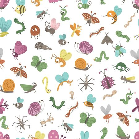 Vector seamless pattern with hand drawn flat funny insects. Cute repeat background with bugs. Sweet creepy-crawly ornament for children's design, print.