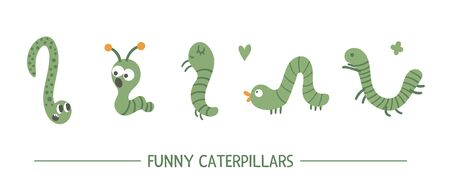 Set of vector hand drawn flat green caterpillars. Funny insects collection. Cute illustration with for children's design, print, stationery Ilustrace