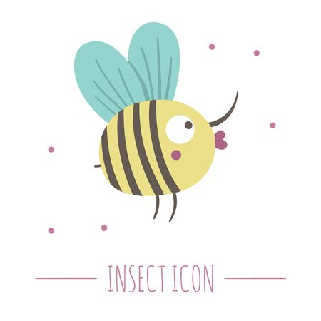 Vector hand drawn flat flying bumblebee. Funny woodland insect icon. Cute forest animalistic illustration for children's design, print, stationery