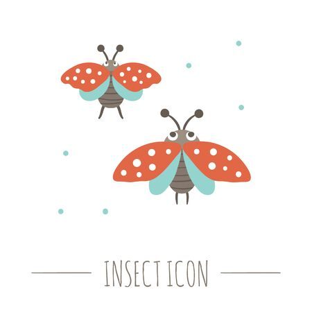 Vector hand drawn flat flying ladybugs. Funny woodland insect icon. Cute forest animalistic illustration for children's design, print, stationery