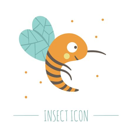 Vector hand drawn flat flying bee. Funny woodland insect icon. Cute forest animalistic illustration for children's design, print, stationery Banque d'images - 129904159