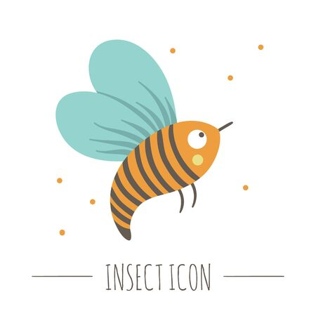 Vector hand drawn flat flying bee. Funny woodland insect icon. Cute forest animalistic illustration for children's design, print, stationery Banque d'images - 129904156