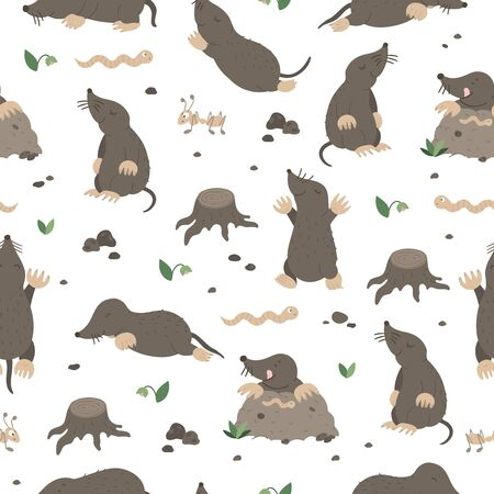 Vector seamless pattern of hand drawn flat funny moles in different poses. Cute repeat background with worm, ant, stump, stones, insects. Sweet animalistic ornament for children's design.