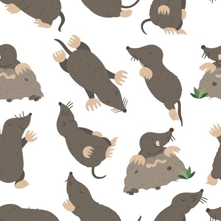 Vector seamless pattern of hand drawn flat funny moles in different poses. Cute repeat background. Sweet animalistic ornament for children's design.