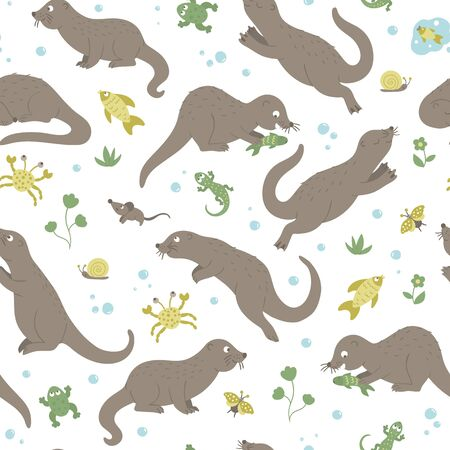 Vector seamless pattern of hand drawn flat funny otters in different poses. Cute repeat background with frog, lizard, fish, crab, insects. Sweet animalistic ornament for children's design.