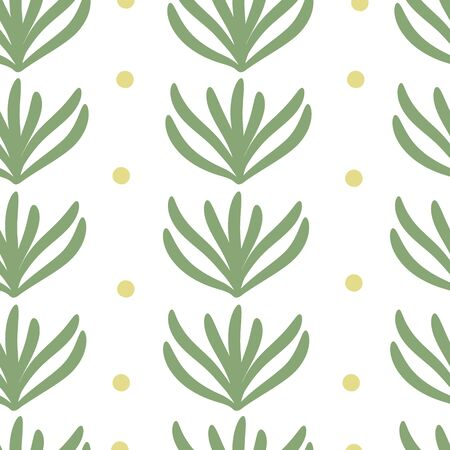 Vector abstract seamless texture on white background. Hand drawn flat simple trendy illustration with green leaves and yellow dots. Repeating pattern Scandinavian style.
