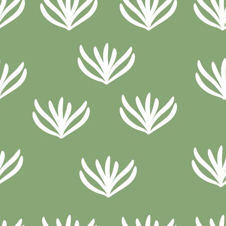 Vector abstract seamless texture on green background. Hand drawn flat simple trendy illustration with white leaves. Repeating pattern Scandinavian style.